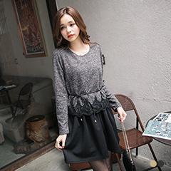 0130新品【現折50】秀麗層次~附腰帶仿毛料X布蕾絲假兩件長版上衣.2色