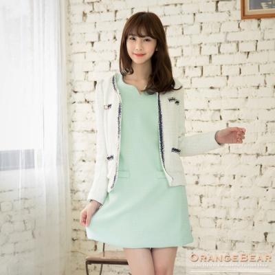0106新品 氣質滿分~小V領高質感織紋打褶修身洋裝.2色