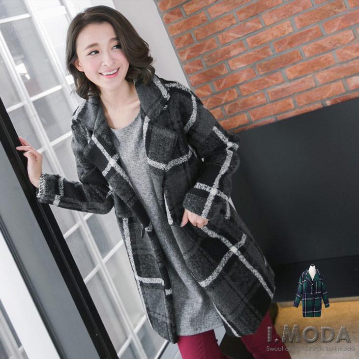 質感摩登~格紋混羊毛面料翻領牛角ob嚴選 model釦長版外套.2色