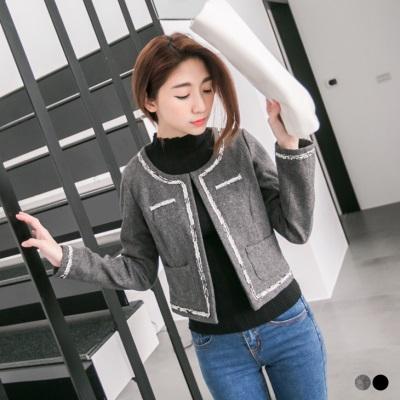 俐落優雅~毛呢邊飾造型雙口袋鉤釦外套.2色