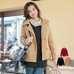 0226新品 時尚姿態~混羊毛公主線翻領雙排釦外套.3色