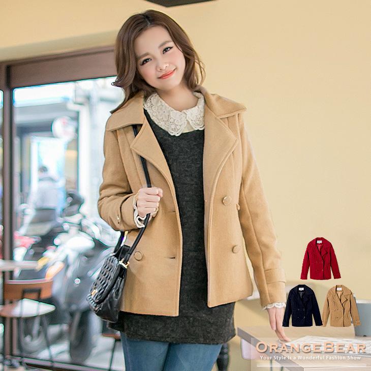 時尚姿態~混羊毛公主線翻領雙排釦外套.3ob design購物網色
