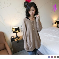 0128新品 簡單質感~嚴選兔毛絨針織長版上衣.4色