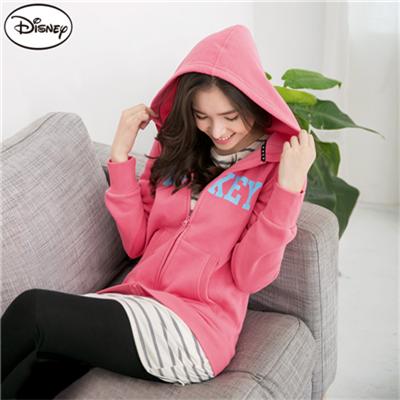 迪士尼超保暖刷毛系列~米奇字母連帽外套‧女2色
