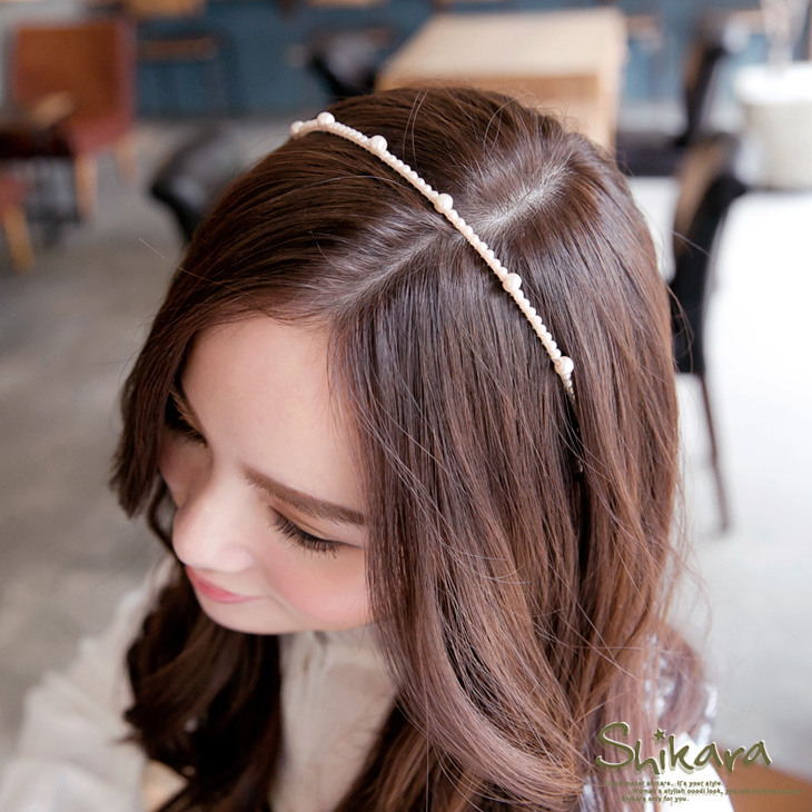 【最低出清!任選68】 優雅質感~大小珍珠裝飾髮箍.2色