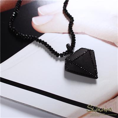0128新品【特價款】摩登品味~水鑽點綴黑色霧面鑽石珠鍊