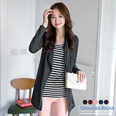 0703新品 優雅漫步~橫條紋撞色開襟假兩件式棉質長版上衣.5色