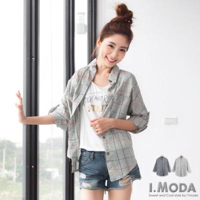0629新品 自然率性~撞色格線弧形雙口袋寬版襯衫‧2色