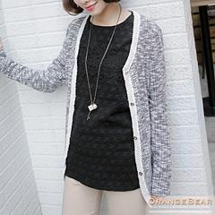 0127新品 精緻秀麗~立體感千鳥紋拼接布蕾絲澎澎袖上衣.2色