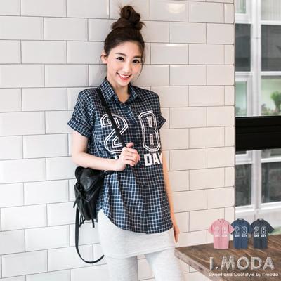 個性俏妞~英文數字燙印格紋短袖襯衫.3色
