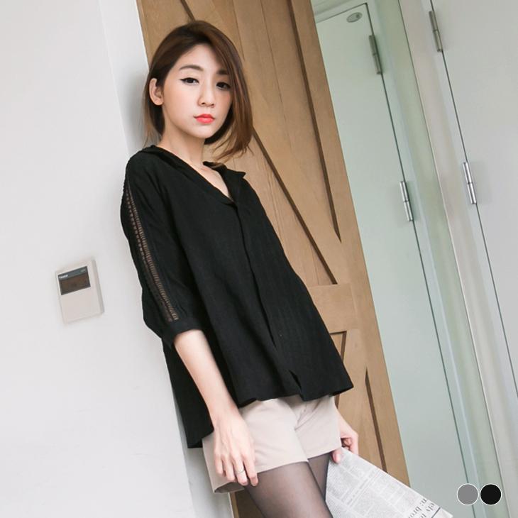 ob服裝0304新品 知性風采~深V領開襟鏤空蕾絲綴袖上衣.2色