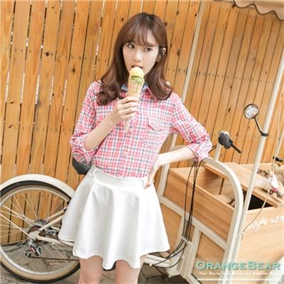 【春夏斷碼♥2件59折】 清新好感~格紋拼接異材質反褶袖襯衫.2色