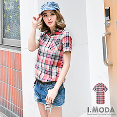 0617新品 中性女孩~輕甜撞色格紋長版襯衫/外套.2色