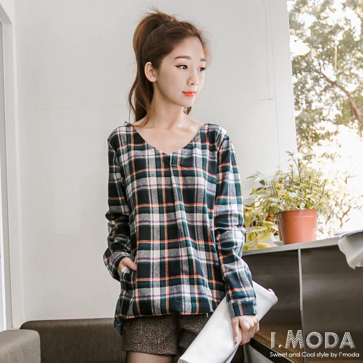 輕甜淑ob嚴選 廣告女~大V領格紋口袋造型長版上衣(附皮帶).2色