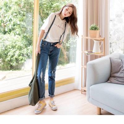 0224新品 帥氣女孩~嚴選破損感直筒顯瘦吊帶牛仔褲.1色