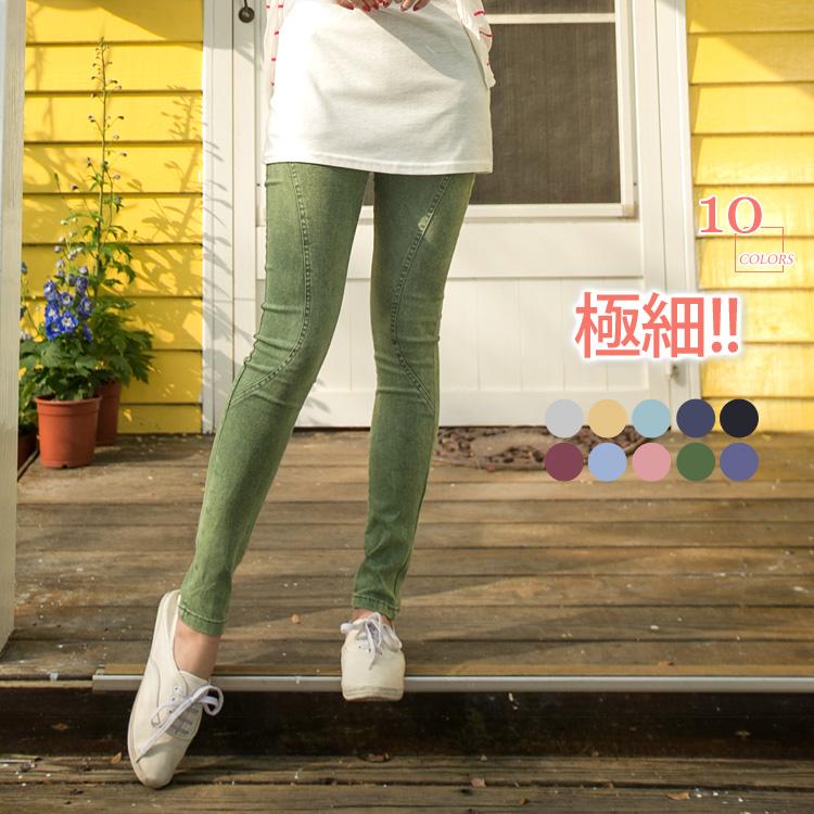 0310新品 極細~零缺點彈性腰圍雪花刷紋牛仔窄管褲.10色