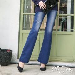 0203新品 完美線條~刷色設計布蕾絲點綴牛仔喇叭褲