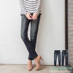 0226新品 層次美型~彈性刷色拼蕾絲剪裁裝飾抽繩牛仔褲