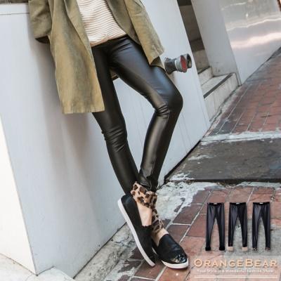 0303新品 摩登魅力~皮革質感拼接絨毛褲口貼腿內搭褲.3色