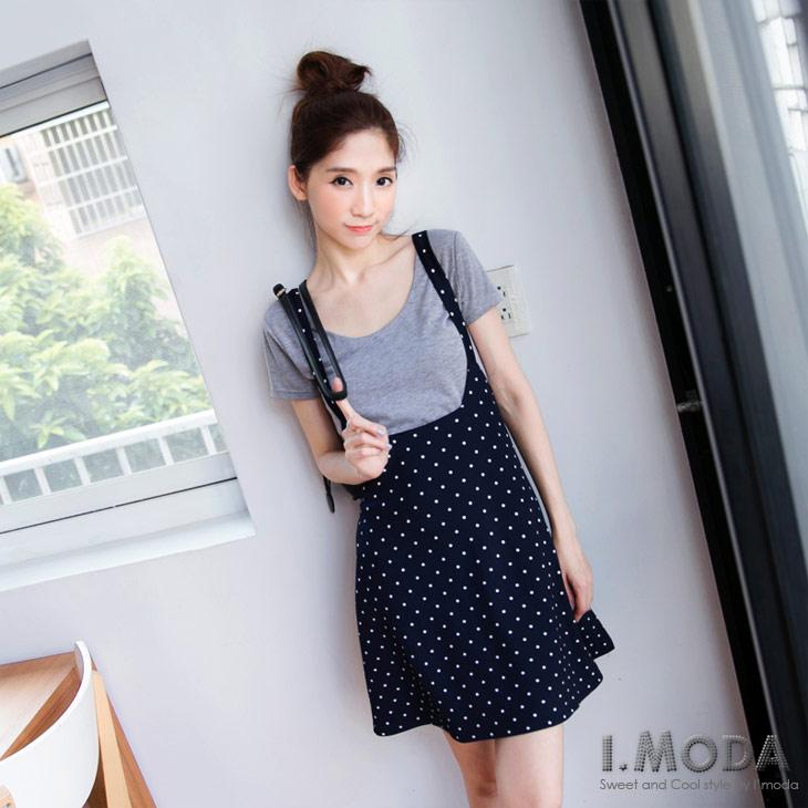 0630新品 韓系俏妞~滿版圓點高腰吊帶短裙.2色