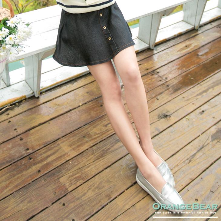 0730ob拍賣新品 清新女孩~仿牛仔釦飾圓襬短裙.3色