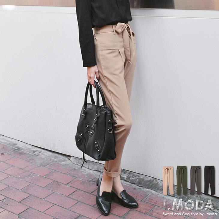 雅緻品味~附腰綁帶打摺修身造型口袋長褲.4色