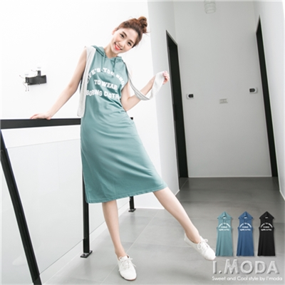0609新品 悠閒格調~街頭感燙印無袖連帽長洋裝.3色