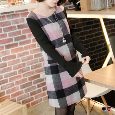 0425新品 格紋X針織袖寬鬆版後蝴蝶結洋裝.2色