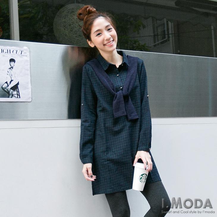 仿毛料披肩造型拼接反折袖格紋洋裝.2ob橘熊色