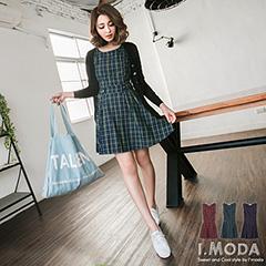 0615新品 品味格調~嚴選格紋面料腰間鬆緊無袖洋裝.3色