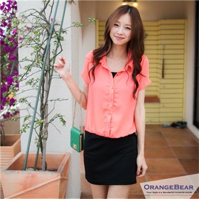 0505新品 時尚OL~直條紋/素色襯衫領排釦拼接洋裝•2色