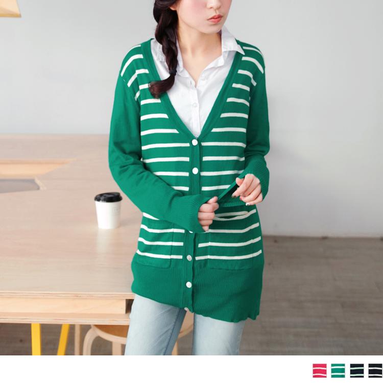 好感必備~排釦條紋拼接色塊長版仿毛料罩衫外套.4色