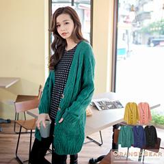 0303新品 輕柔姿態~V領麻花雙口袋落肩長版針織外套.5色