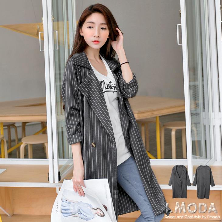 摩登品味~嚴選質感面料條紋翻ob購物網領長版外套.2色