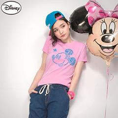0226新品 迪士尼純棉/情侶款系列~創意字母米奇頭像T恤‧女3色
