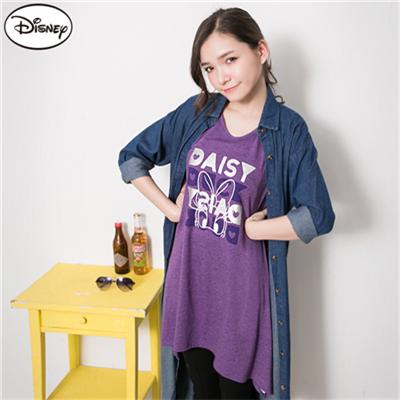 0506新品 迪士尼親膚彈力系列~黛西普普風印花長版T恤‧女3色