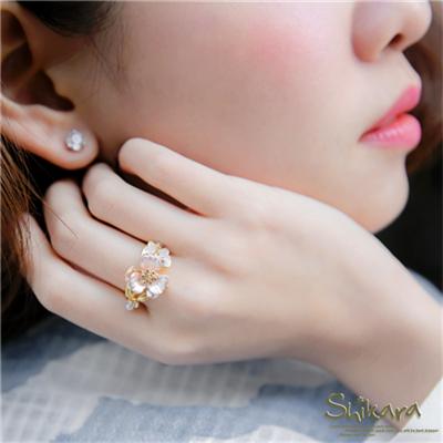 0331新品 【特價款】花園精靈~花朵蝴蝶珍珠水鑽點綴戒指.2色