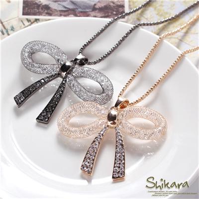 甜美耀眼~立體鏤空金屬蝴蝶結水鑽項鍊.2色
