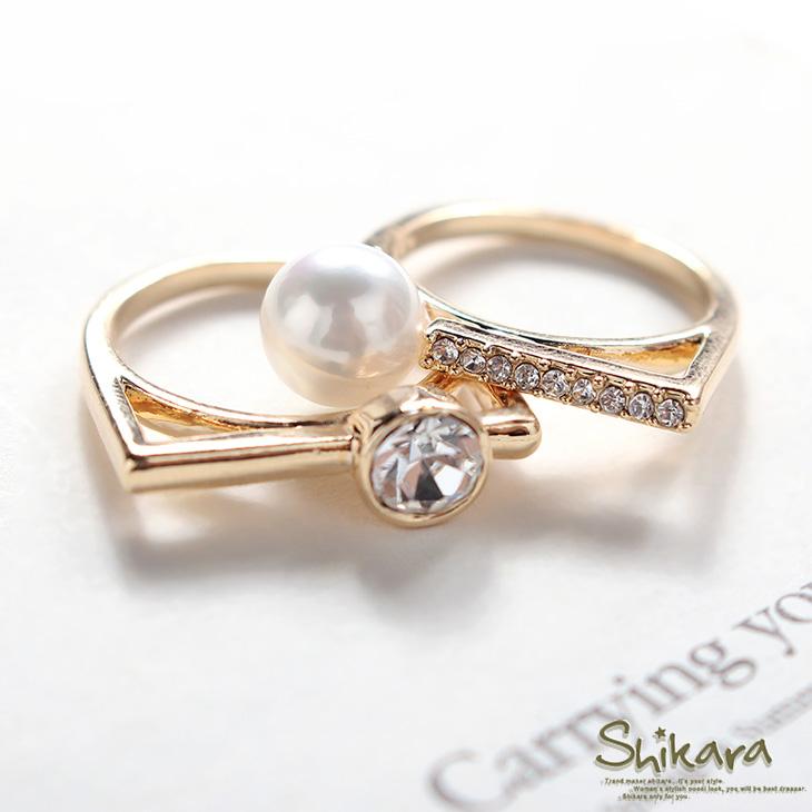 【特價款】 氣質綻放~水鑽mix珍珠方形戒指組