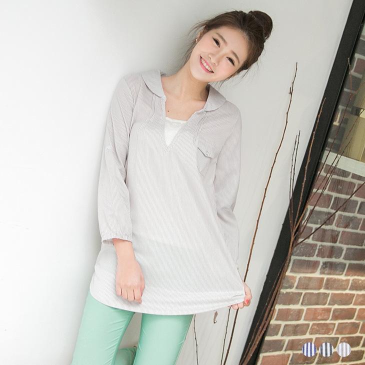 0419新品 知性格調~條紋面料拼蕾絲佈點綴反折袖長版ob顯瘦褲上衣.3色