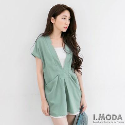 0416新品 時髦女伶~深V領開襟雙口袋造型長版上衣.4色