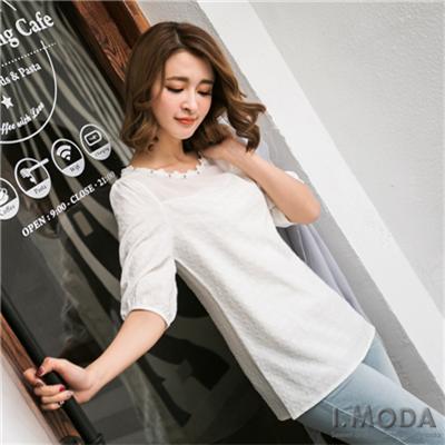 0401新品 典雅淑女~立體質感面料花邊珠飾綴領七分袖上衣.3色
