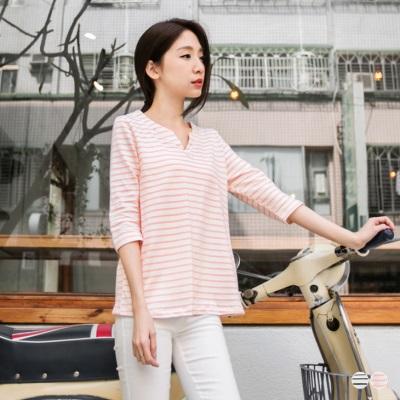 【春夏斷碼♥2件59折】清新俐落~雙V領造型條紋七分袖上衣.2色