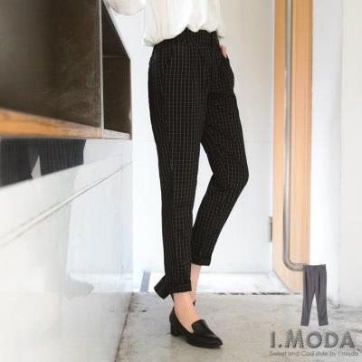 0326新品 巨星風格~經典方格紋後腰鬆緊修身長褲.2色