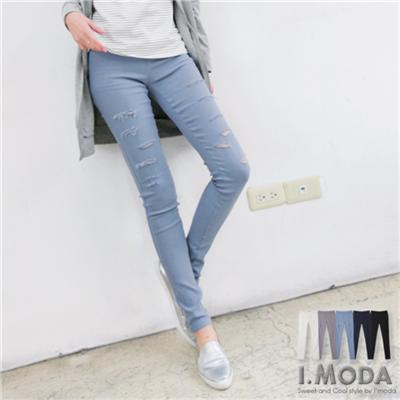 0425新品 嚴選破損造型顯瘦彈性窄管褲.5色