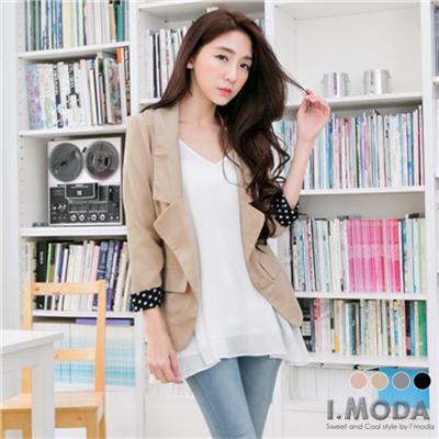 【春夏斷碼?2件59折】修身美型~合身美型點點反褶嚴選OL西裝外套.4色
