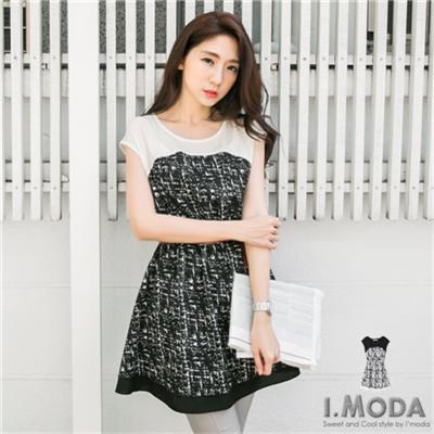 0323新品 黑白迷漾~黑白雜訊感拼接雪紡無袖洋裝.2色