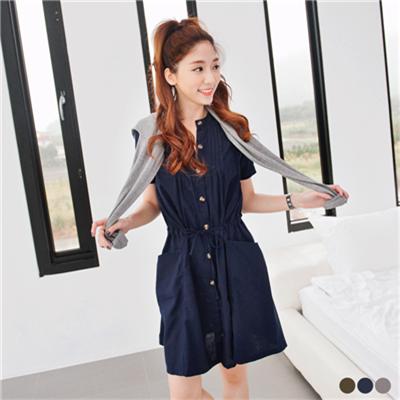 0317新品 開襟口袋造型腰間抽繩短袖洋裝.3色