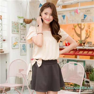 0401新品 姣好風尚~方領蝴蝶結裝飾縮腰撞色洋裝.2色