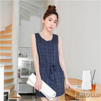 【春夏斷碼♥2件59折】極簡時尚~拉鍊設計格紋洋裝/長版罩衫.2色